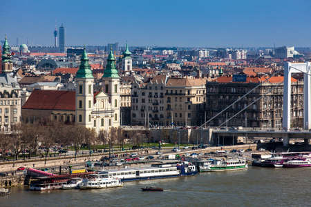 View of the Pest side of Budapest city, Elisabeth Bridge and the Parochial Church of the Assumption of the Virgin