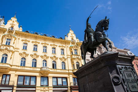 Statue of Count Ban Jelacic erected on1866  and the beautiful facades of the buildings on the main city square in Zagreb