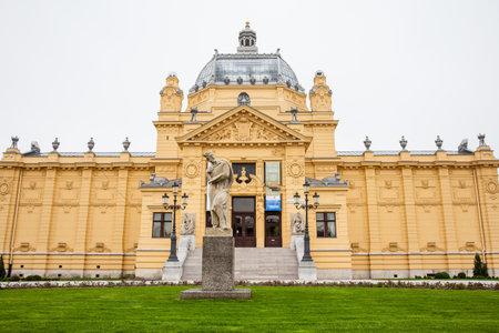 The historical Art Pavilion building in Zagreb capital of Croatia Редакционное