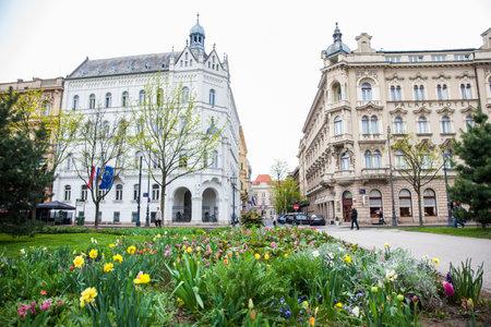 ZAGREB, CROATIA - APRIL, 2018: Park Josipa Jurja Strossmayera and the beautiful buildings around at lower town in Zagreb Publikacyjne