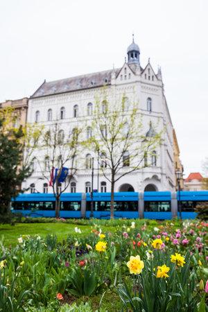 Park Josipa Jurja Strossmayera and the beautiful buildings around the lower town in Zagreb