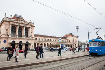 People in front of Glavni kolodvor the main railway station in Zagreb