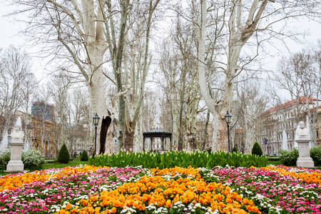 Beginning of spring at the beautiful Zrinjevac park the oldest of the lower town in Zagreb capital of Croatia