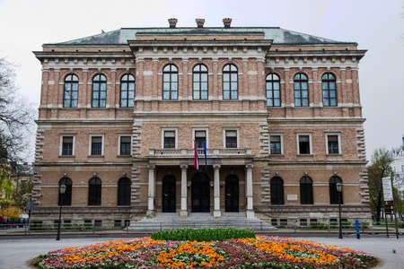 Building of the Croatian Academy of Sciences and Arts located in Zrinjevac park in Zagreb capital of Croatia Publikacyjne