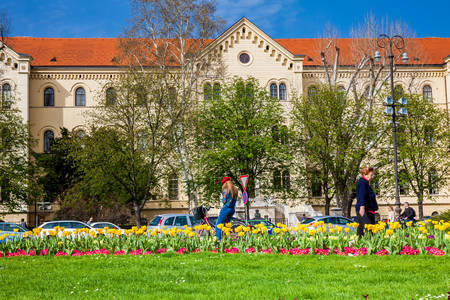 Building of the Faculty of Law of the University of Zagreb located at the Republic of Croatia Square in a beautiful early spring day