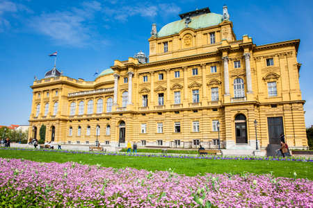 The historical building of the Croatian National Theater in a beautiful early spring day in Zagreb
