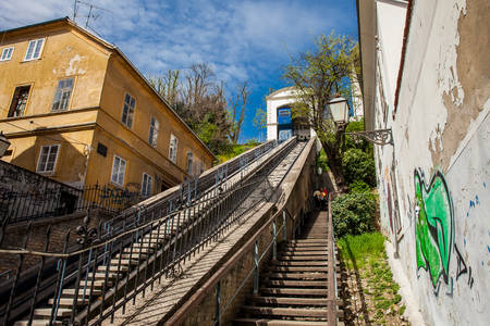 Historic cable car lift to upper town in Zagreb put into operation in 1890