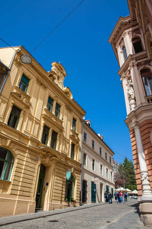 Locations and tourists walking in Zagreb city called Radiceva ulica 報道画像