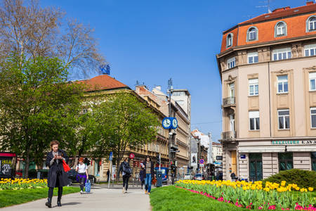 Republic of Croatia Square and Masarykova street in a beautiful early spring day Фото со стока - 122738522