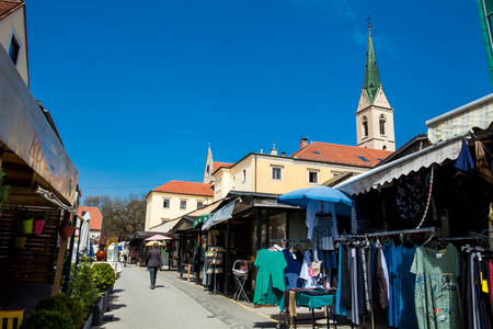 Street sell at Kaptol in Zagreb in a beautiful early spring day