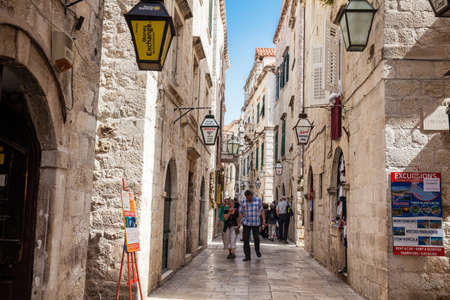 The beautiful alleys at the walled old town of Dubrovnik