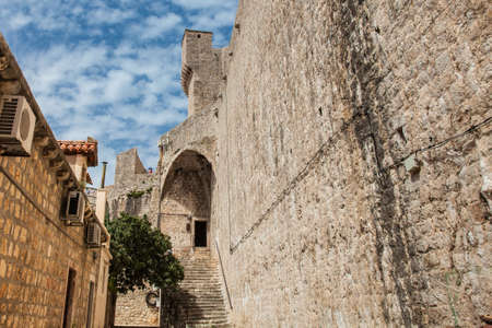 Back of the Minceta Tower on the beautiful walls of Dubrovnik old town