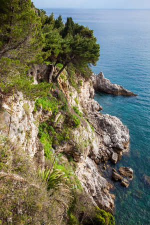 The Beautiful cliffs at the coast of Dubrovnik city 免版税图像
