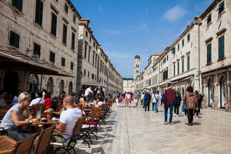 Tourists at Stradun street in the Old Town of Dubrovnik Editorial