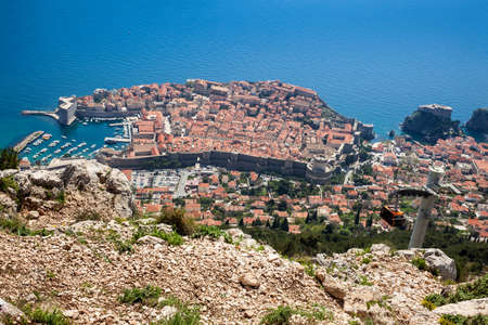 View of Dubrovnik city and cable car taken from the top of Mount Srd 免版税图像
