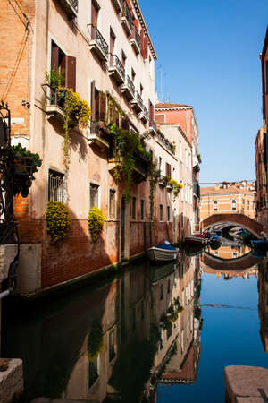 Beautiful Venice canals in an sunny early spring day