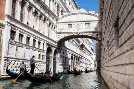 VENICE, ITALY - APRIL, 2018: The famous Bridge of Sighs at the beautiful Venice canals