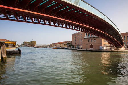 Constitution Bridge over the Grand Canal in Venice in a beautiful early spring day Editorial