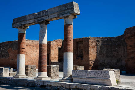 Ruins of the Forum at the ancient city of Pompeii in a beautiful early spring day