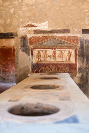 Kitchens in the houses of the ancient city of Pompeii