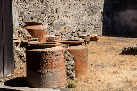 Ruins of the houses in the ancient city of Pompeii Stock Photo