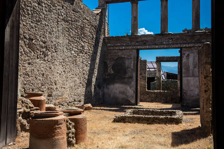 Ruins of the houses in the ancient city of Pompeii Banque d'images