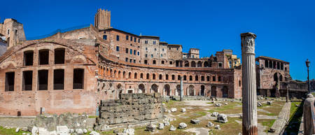 Panoramic view of the ancient ruins of the Market of Trajan thought to be the oldest shopping mall of the world built in 100-110 AD in the city of Rome