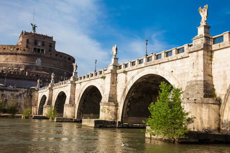 Sant Angelo Bridge over the Tiber River completed in 134 AD by the Emperor Hadrian