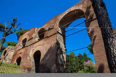 Remains of the Aqua Claudia an ancient Roman aqueduct begun by Emperor Caligula in 38 AD and finished by Emperor Claudius in 52 AD