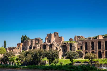 Tempio di Apollo Palatino sul Palatino dell'antica Roma e Circo Massimo Archivio Fotografico