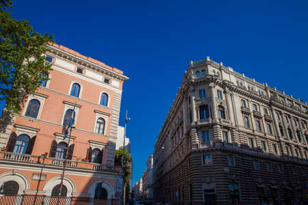 Beautiful architecture of the antique buildings at Rome city center Editorial
