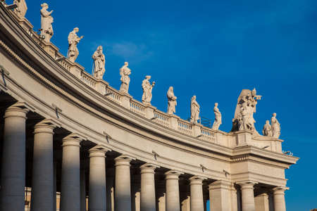 Detail of the Bernini Colonnade at Vatican City in a beautiful spring day