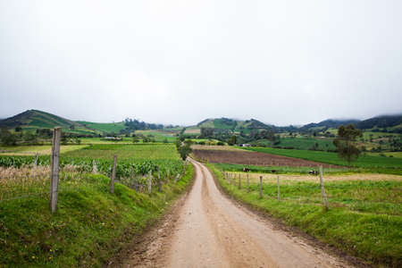 Unpaved country road between the small towns of Ventaquemada and Turmeque in Colombia