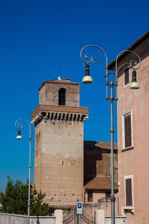 The famous Borgia Tower against a beautiful blue sky in Rome Stock Photo
