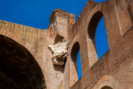 Detail of the walls of the Basilica of Maxentius and Constantine in the Roman Forum in Rome