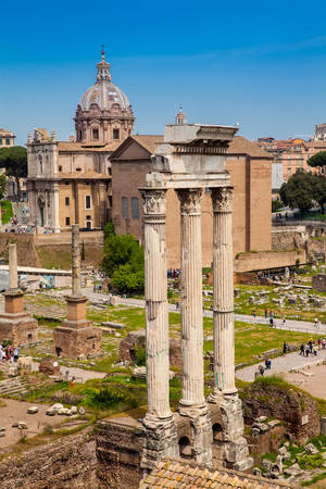 Remains of the Temple of Castor and Pollux or the Dioscuri at the Roman Forum in Rome