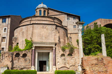 Ancient Romulus Temple at the Roman Forum in Rome