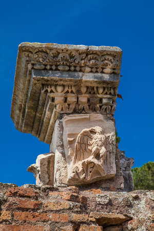 Detail  of the ancient columns at the ruins of the Domus Augustana on Palatine Hill in Rome