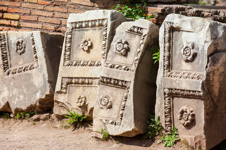 Detail of the beautiful stone carvings which decorated the ancient Roman Forum in Rome