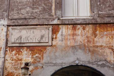Sign of the Via di Panico street