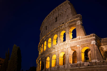 The famous Colosseum at night in Rome