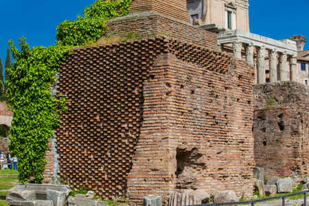 Beautiful brick base of the Honorary Columns at the Roman Forum in Rome Zdjęcie Seryjne