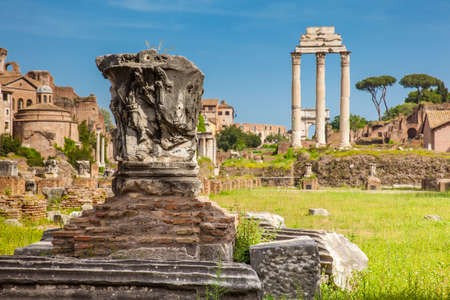 Remains of the Basilica Julia and the Temple of Castor and Pollux at the Roman Forum in Rome Zdjęcie Seryjne