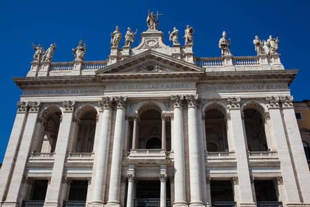 Ornate facade of the Archbasilica of Saint John Lateran in Rome Zdjęcie Seryjne