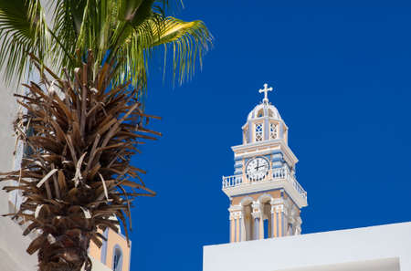 Bell tower of the Saint John the Baptist church in the city of Fira in the Island of Santorini