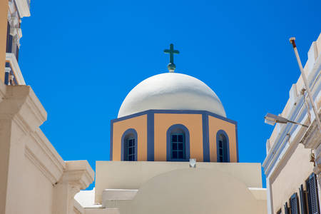 Dome of the Saint John the Baptist church in the city of Fira in the Island of Santorini