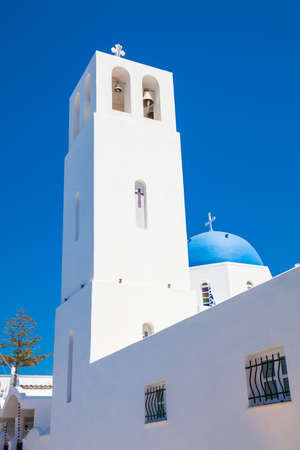 Bell tower and dome of the parish church of St. Gerasimos located in Fira of Santorini