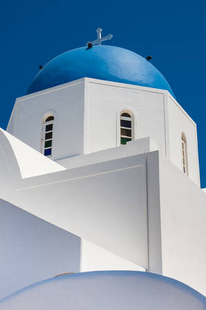 Dome of the parish church of St. Gerasimos located in Fira of Santorini