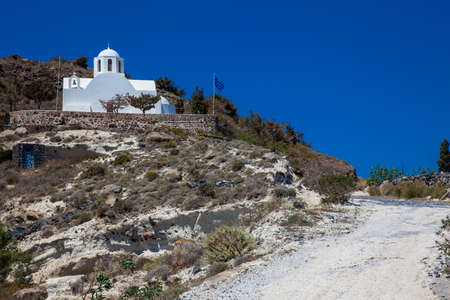 Church of Saint Mark located next to the hiking path between Fira and Oia in Santorini Island Zdjęcie Seryjne