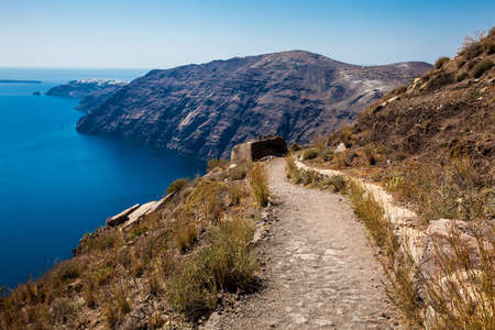Walking trail number 9 between the cities of Fira and Oia in the Santorini Island